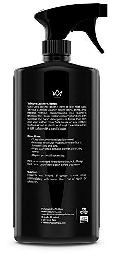 TriNova Leather Cleaner for Couch, Car Interior, Bags, Jackets, Saddles. Safe for use in Home or Car, Microfiber Included 18oz