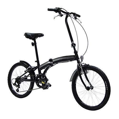 Bici Pieghevole Cambio 6 velocità, Ruote 20, Nero Opaco, Leggera, Occupa Poco Spazio