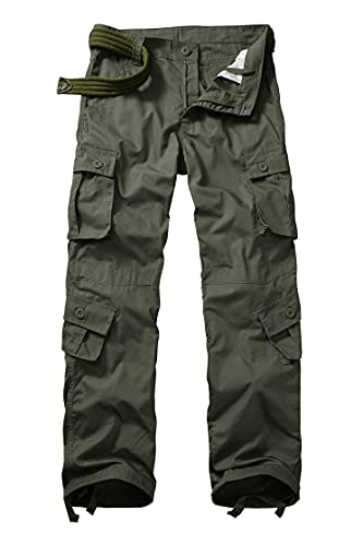 GSGGIG Men's Outdoor Hiking Pants, Tactical Pants Lightweight Casual Work Ripstop Cargo Pants for Men with Pockets 3355-Army Green-36