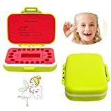 Baby Tooth Box Keepsake for Personalized Tooth Holder for Kids with English Mark (Green)