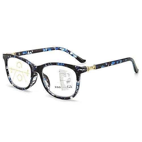 Occhiali da lettura multifocali progressivi per donna Uomo Occhiali da computer con filtro anti luce blu Occhiali da lettura multifocali senza fili(blu,+1.5)