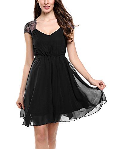 Zeagoo Damen Elegant Sommerkleid Chiffon Kleid Festliches Cocktail Party Mini Kleid mit Spitze Kurz A Linie Schwarz M