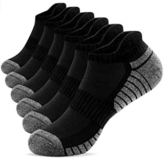 Mens and Women Athletic Ankle Socks Athletic Cushioned Breathable ,Low Cut Cushioned Running Tab Sports Socks -6Pairs