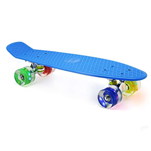 M Merkapa 22' Complete Skateboard with Colorful LED Light Up Wheels for Kids, Boys, Girls, Youths, Beginners(Blue)