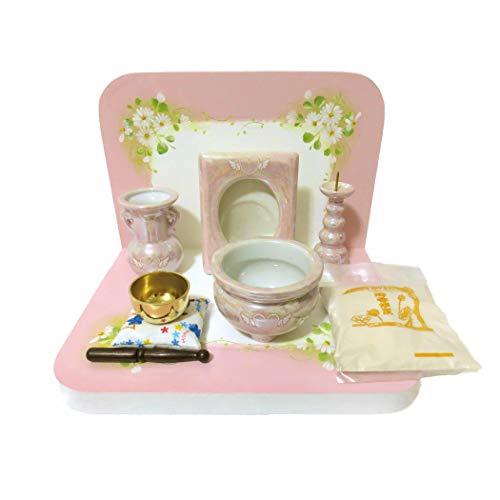 ミニ仏壇 トールペイント ピンク 台座 おりん 写真立て 花器 香炉 ロウソク立て 香炉灰 パールピンク 手作り 7点セット