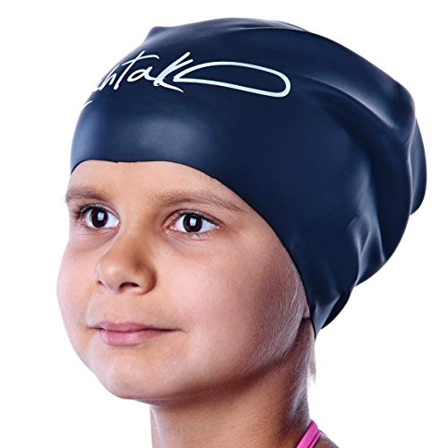 Swim Caps for Long Hair Kids - Swimming Cap for Girls Boys Kids Teens with Long Curly Hair Braids Dreadlocks - 100% Silicone Hypoallergenic Waterproof Swim Hat (Black, Small)