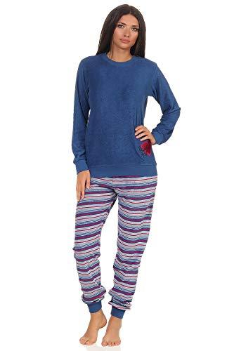 Edler Damen Frottee Schlafanzug mit Bündchen, Pyjama mit Herz Motiv - 202 201 13 601, Farbe:blau, Größe:36/38