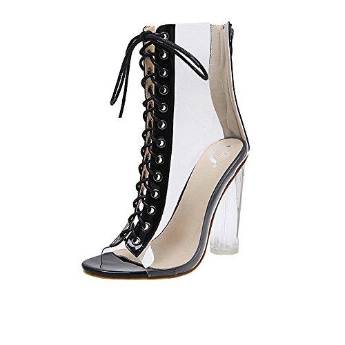 Strungten Womens Open Toe Schnürschuhe Open Toe High Heel Sandalen Transparente Bandage...