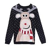 JHD Mujeres Invierno Feo Navidad suéter de Manga Larga Lindo Reno Estampado 3D Nariz Pompones pulóver Tops Cuello Redondo Suelta Camisa de Puente de Vacaciones