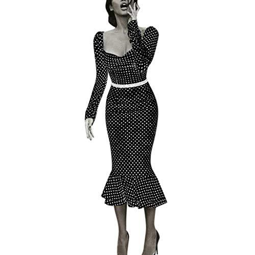 Lazzboy Kleid Frauen Langarm Quadrat Kragen Punkt Gedruckt Figurbetontes Kostüm Gepunkteter Tellerrock 50er Jahre Stil Mode Rockabilly Damen Outfit Polka Dots(Schwarz,M)