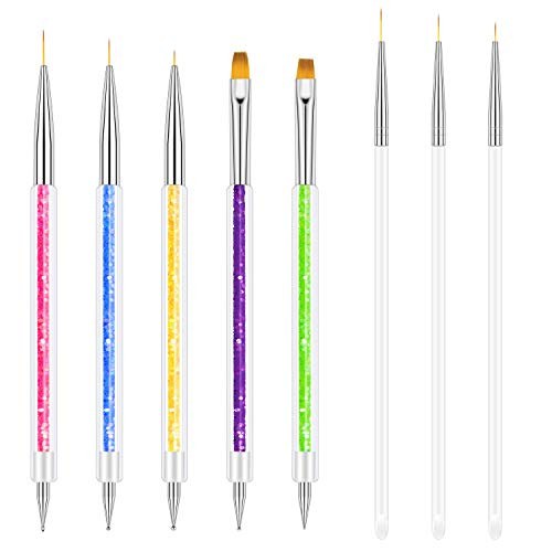 Meetory 8 Stück Nagel Pinsel Set Acryl Nail Art Stift Nageldesign Art Liner UV Gel Pinsel für DIY Nail art Salon und Heimgebrauch
