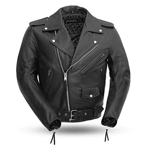 Superstar - Men's Leather Motorcycle Jacket (Black, Large)