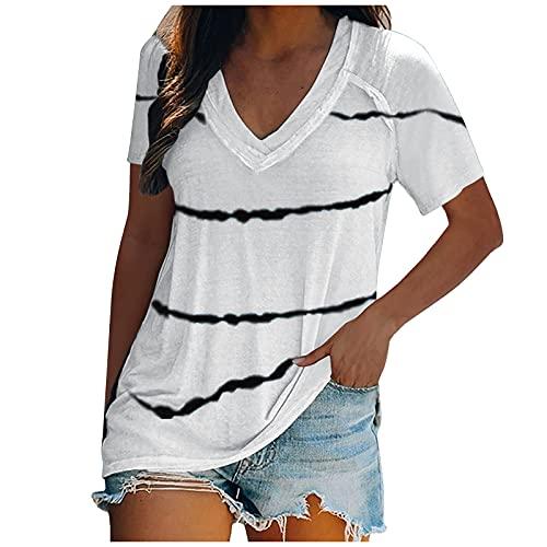 AMhomely Camisas y blusas para mujer con mangas acampanadas y cuello en V, sueltas para túnica