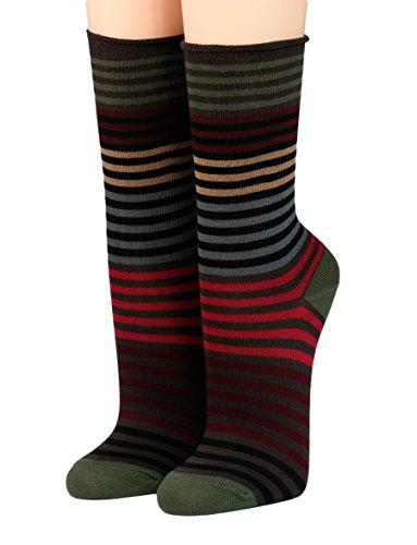 CRÖNERT Socken Longsocks Söckchen im Design Multiringel 18802 (35-38, oliv 2142)