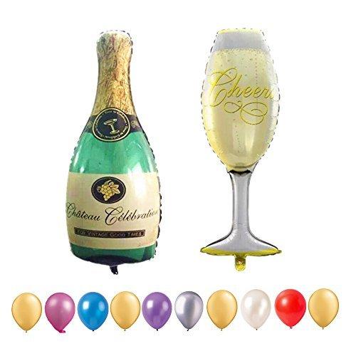 Hemore laurea palloncini, 101,6cm gigante bottiglia di champagne e calice aluminum foil palloncini per matrimonio, anniversario, festa di compleanno decorazione.Palloncini con 10pezzi 30,5cm