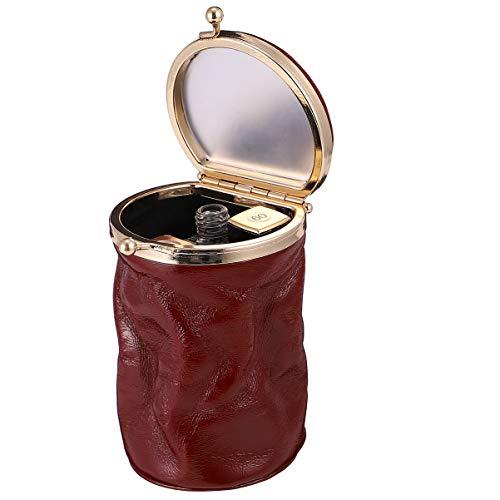 VALICLUD Mini-Make-Up-Tasche mit Spiegel Kiss-Lock-Verschluss Clutch Geldbörse Leder Lippenstift Fall (Rotwein)