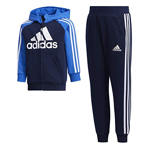 adidas Kinder LK B FT TRACKSU Sportoutfit, Maruni/Azul/Maruni, 110 (4/5 años)