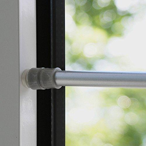 Klemmfix Klemmstange Flex 80-120 cm ausdrehbar für Tür Fenster Gardinenstange ohne Bohren - silber - chrom matt
