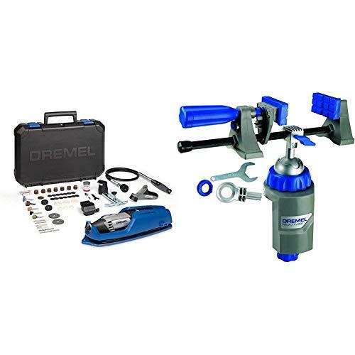 Dremel 4000-4 65 EZ - Pack multiherramienta, eje flexible, cortadora y 65 accesorios + Dremel 26152500JA Multi-Vise 2500. Herramienta 3 en 1, Azul, Metálico