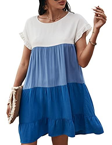 Vestido de Verano con Columpio para Mujer Color Block Ruffle A-Line Babydoll Mini Vestidos Azul L