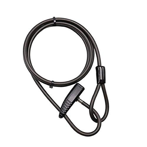 Yiyu Fahrradschloss Lock-Doppel Ring Lock Mountain Bike Verschluss-Stahlkabelschloss REITAUSRUSTUNG Zubehör Draht Sperre Auto-Lock-200Cm x (Color : Black)