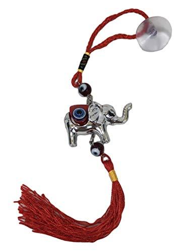BGG Red Evil Eye Lucky Elephant Amulet Charm Car Ornament Hanger Tassel