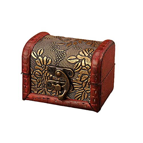 GeiLiO Caja de Almacenamiento de joyería de Madera Vintage, Hecha a Mano, con Cerradura de Metal, se Puede Usar para Cajas de Almacenamiento de Pendientes y Collares