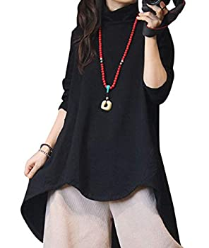 YESNO Women Fashion Terry Cotton Tunic Tops Turtleneck Pullover Long Sleeve Curved High Low Hemline YW15  L YW15 Black