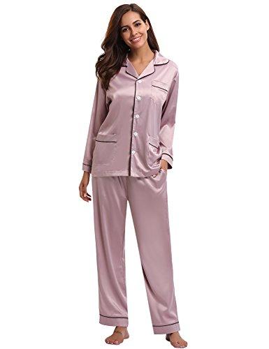 Aibrou Women's Satin Pajamas Set Long Sleeve and Long Button-Down Sleepwear Loungewear