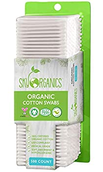 Cotton Swabs Organic by Sky Organics  Large pack of 500 ct  Natural Cotton Buds Cruelty-Free Cotton Swabs Biodegradable All Natural Cotton Swabs Chlorine-Free Hypoallergenic Cotton Swabs