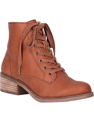 Dingo Women's Prairie Girl Lace-Up Boot Round Toe Cognac 7.5 M