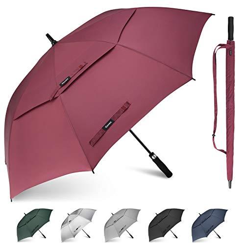 Gonex Sturmfest Golf Regenschirm 68 Zoll Groß XXL, UV-Schutz, Automatischer Offener Regenschirm mit Winddichtem, Wasserabweisendem Doppelverdeck, Eva-Griff,für 2-7 Männer