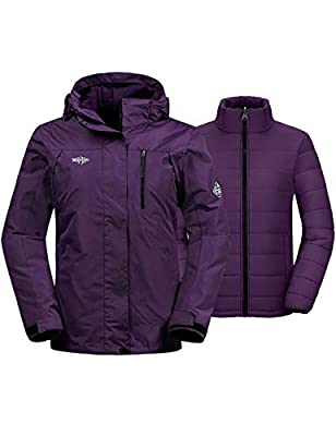 Wantdo Women's 3-in-1 Ski Jacket Hooded Mountain Winter Parka Dark Purple M
