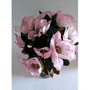 Magnolia Bouquet, Bush. Silk Flower Floral Arrangements Real Touch Quality 12″ to 13″ in Diameter – Artificial Flowers #FWB01YN