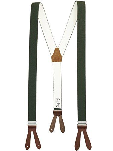 Xeira Hosenträger Dunkelgrün mit Braunen Lederriemen zum Knöpfen für Herren und Damen Normale Länge 110