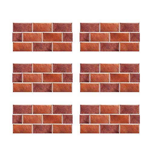 BESPORTBLE 6 Pezzi Peel And Stick Tile Backsplash Rimovibile 3D Wall Sticker Carta da Parati Piastrelle per Cucina Bagno Controsoffitto 30X15 Cm (Foglia d'Acero Rosso)