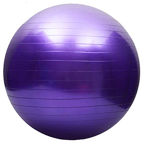 Fortitude Sports Pelota Suiza de 55 cm con Bomba   Pelota De Ejercicio con Bomba para Yoga, Fitness, Pilates, Balance Gym   Anti Burst, Antideslizante (Morado)