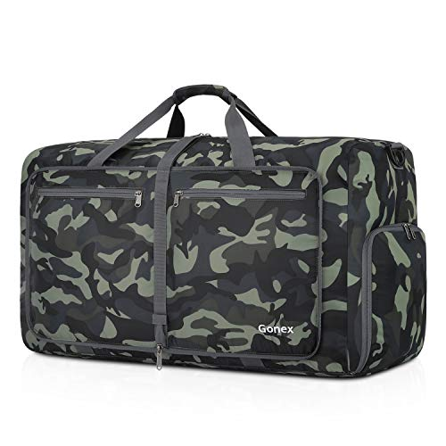 Gonex 80L Packable Travel Duffle Bag Foldable Cordura Duffel Bags for Luggage Gym Sports Camping Travelling Cycling Storage Shopping Water & Tear Resistant Black and Green Camouflage