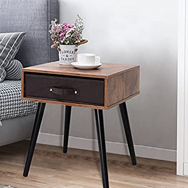 IWELL Mid-Century Nightstand Set of 2, End Table with 1 Storage Drawer, Bedside Table with Wooden Legs, Side Table, Rustic Br