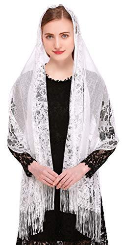 Pamor Chapel Veil Scarf Mantilla Veils Rectangular Wrap Shawl Mass Head Covering with Fringe Trim (White)