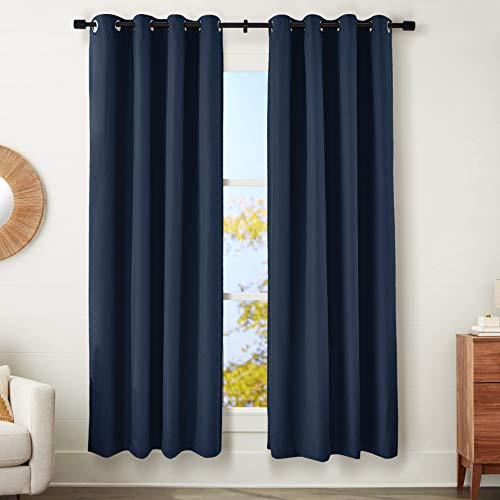 """Amazon Basics 100% Blackout Textured Linen Window Panel with Grommets and Thermal Insulated, Noise Reducing Blackout Liner - 52"""" x 84"""", Navy Blue"""