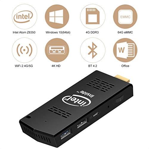 W5 MAX Mini PC Stick Windows 10 64bit 4GB RAM 64GB eMMC Inter Atom Z8350 2.4G/5.0G Dual WiFi USB 3.0 Bluetooth 4.2 4K HD