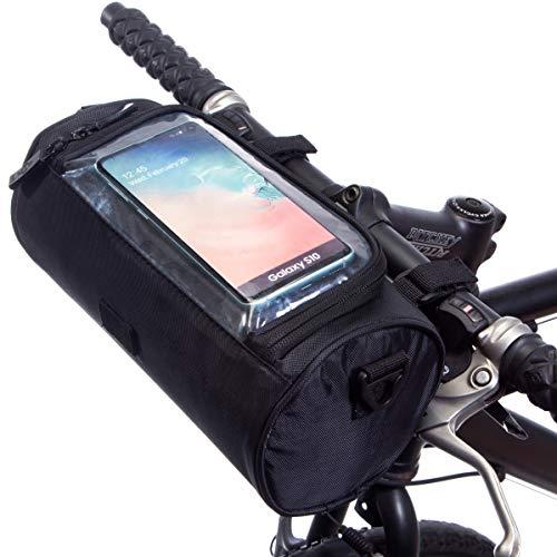 BTR Fahrrad Lenkertasche mit Smartphone Touchscreen Handytasche. Universelle Passform. Schwarz