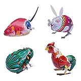 Amosfun Aufziehspielzeug Uhrwerk Tiere Spielzeug Eisen Frosch Hahn Hase Maus Springendes Spielzeug 4pcs Vintage Kinder Spaß Spielzeug Weihnachten Geburtstag Party Tasche Füllstoff Zufällige Farbe
