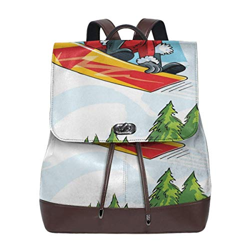 Women's Leather Backpack,Cartoon Style Santa Doing A Jump On Snowboard Snow Covered Mountains and Pine Trees,School Travel Girls Ladies Rucksack