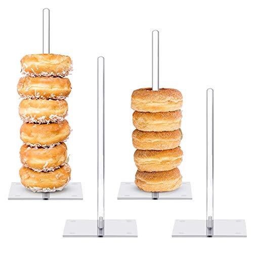 Donut-Ständer aus Acryl, klar, Donut-Ständer, Turm, Donut-Ständer, Donut-Ständer, für Hochzeit, Kinder-Party, Babyparty, 4 Stück