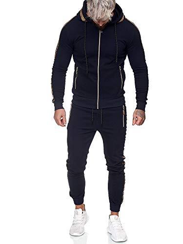 Code47 | Herren Trainingsanzug | Jogginganzug | Sportanzug | Jogging Anzug | Hoodie-Sporthose | Jogging-Anzug | Trainings-Anzug | Jogging-Hose | Modell JG-1424 Navy XS