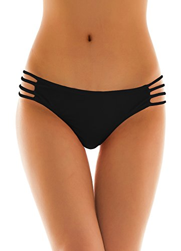 SHEKINI Womens Sexy Solid Strappy String Bikini Panties Hipster Thong Swimwear Bottom (Small/(US 4-6), Manhattan Black)