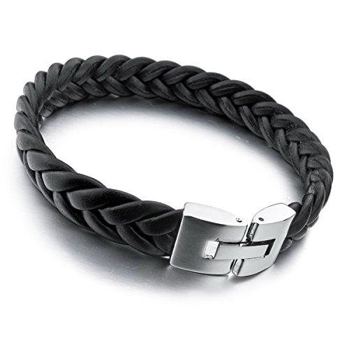 MunkiMix Edelstahl Leder Armband Armreifen Schwarz Silber Ton Herren