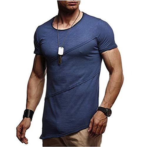 SSBZYES Camisetas para Hombre Camisetas De Cuello Redondo para Hombre Camisetas De Manga Corta para Hombre Código Europeo Camisetas Plisadas Ocasionales De Color Sólido De Manga Corta para Hombre